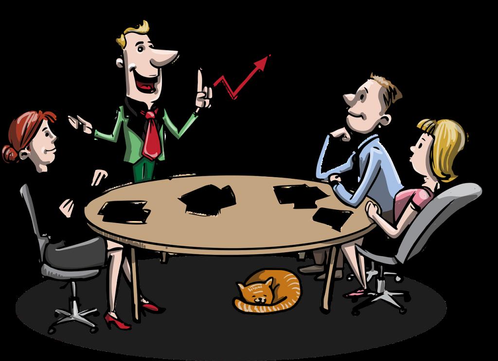 dessin d'une équipe autour d'une table écoutant en dirigeant d'entreprise lors de son explication avec son tableau